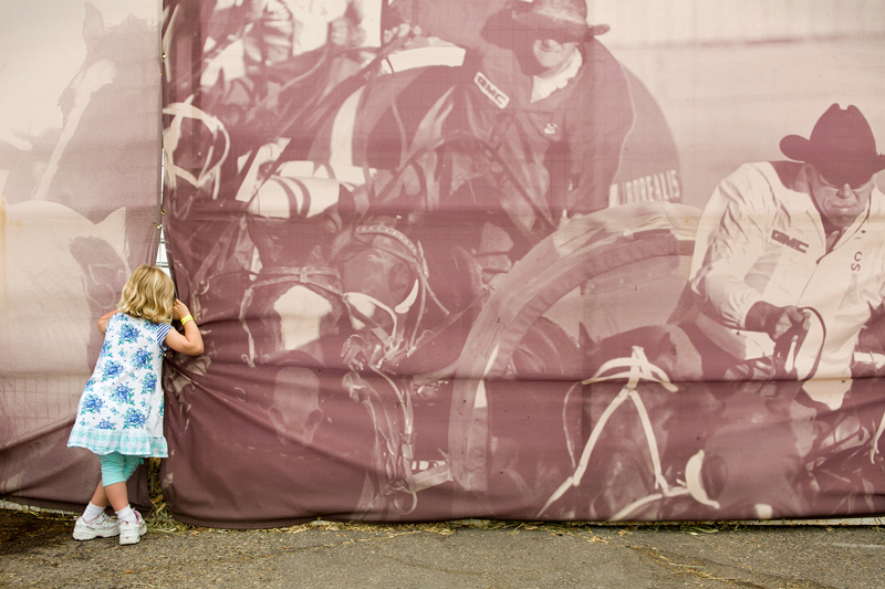 A small girl peeres behind the scenes of The Calgary Stampede rodeo