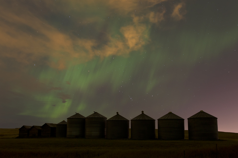 The Aurora Borealis over grain silos in Alberta.